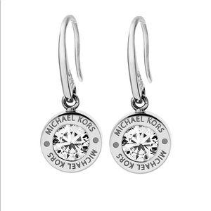 Michael Kors Silvertone Clear Drop Earrings